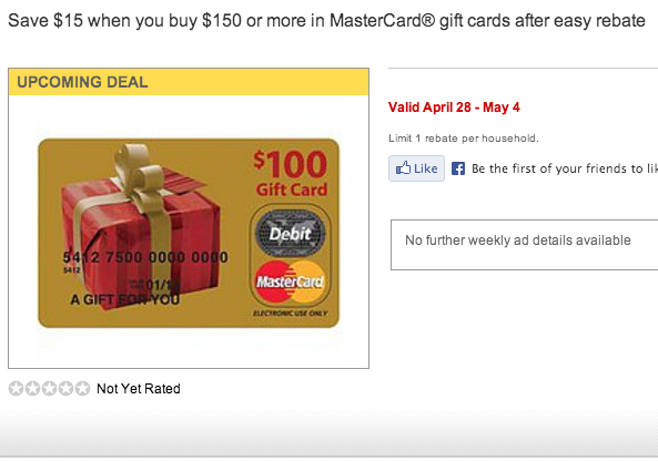 Staples Deal-Save $15 on $150 or More in MasterCard Gift Cards After Rebate