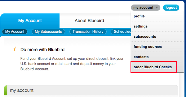 "AMEX Bluebird Free Checks-Select ""Order Checks"" from Dropdown"