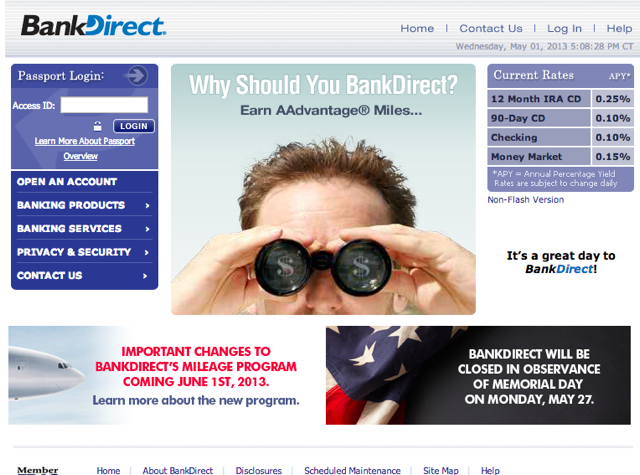 BankDirect Devaluation: 75% Reduced Mileage Earning for Deposits Above $50,000