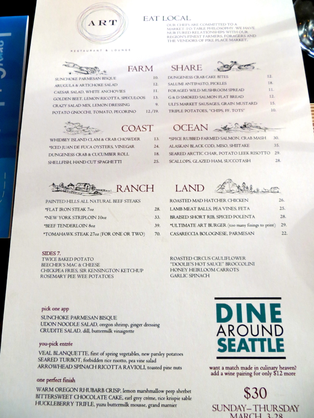 Art restaurant review at the four seasons seattle for Artistic cuisine menu