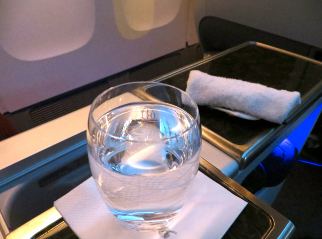 Review-Qatar Business Class NYC JFK to Doha - Pre-Departure Drink and Hot Towel
