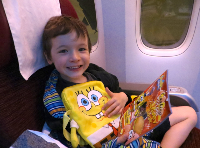 Review-Qatar Business Class NYC to Doha - Kid Amenity: Spongebob Squarepants