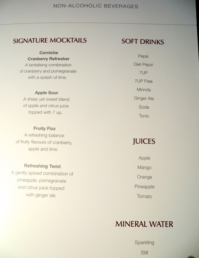 Review-Qatar Business Class NYC to Doha - Mocktails and Drinks