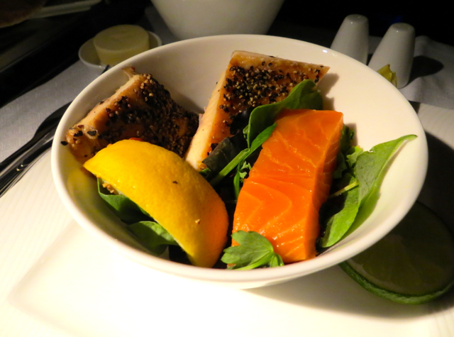 Review-Qatar Business Class NYC JFK to Doha - Smoked Salmon Appetizer