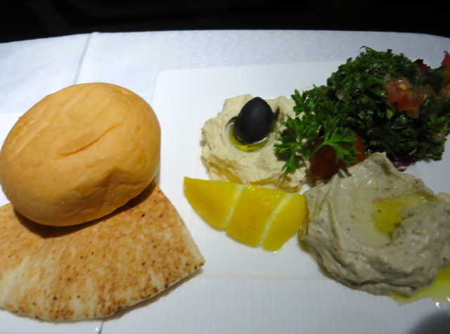 Qatar Business Class Review Doha to Male Maldives - Arabic Mezze Appetizer for Dinner