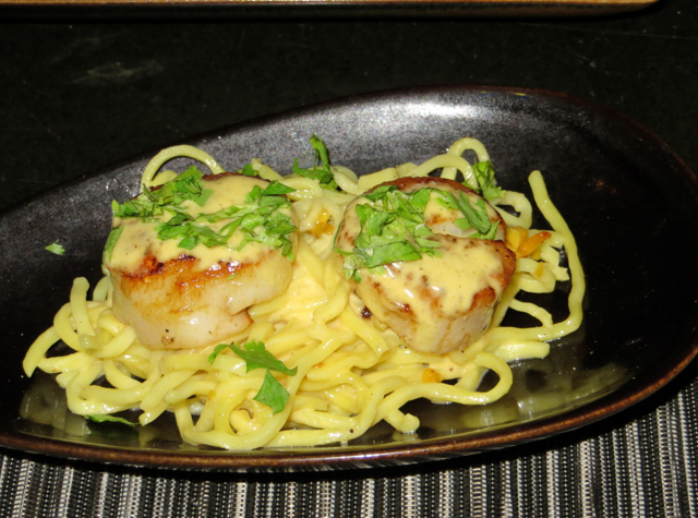 Park Hyatt Maldives Island Grill Review - Grilled Scallops with Squash Noodles and Curry Mousseline