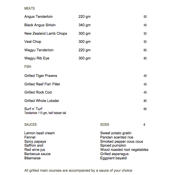 Park Hyatt Maldives Island Grill Review - Grilled Meats, Sauces and Side Dishes