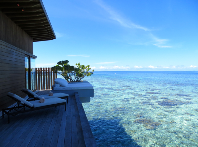 Park Hyatt Maldives Water Villa Review - Private Deck with Day Bed and Sunbeds