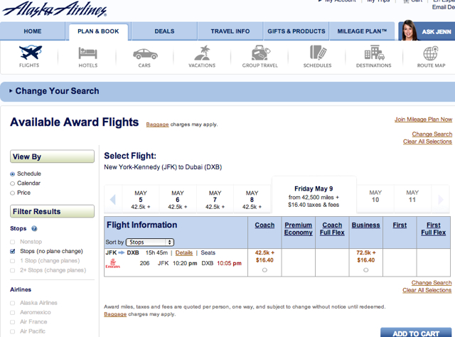 Alaska Airlines: New Online Award Search for Emirates, Air France-KLM, Qantas
