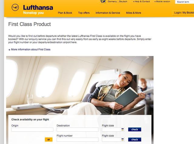 Lufthansa New First Class Flight Checker