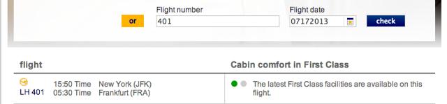 Lufthansa New First Class Flight Checker - New First Class Available