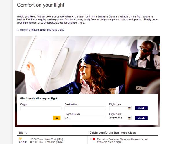 Lufthansa New Business Class Flight Checker