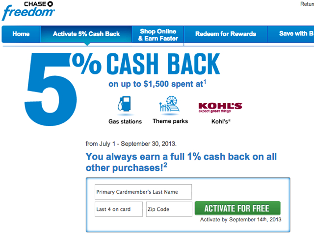 Activate Chase Freedom Q3 5X Bonus Categories: Gas Stations, Theme Parks and Kohl's