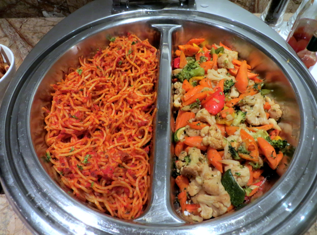 Male: Plaza Premium Lounge Review-Food-Spaghetti and Vegetables