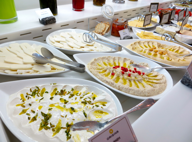 Yas Viceroy Abu Dhabi Hotel Review, Breakfast Buffet Middle Eastern Dips