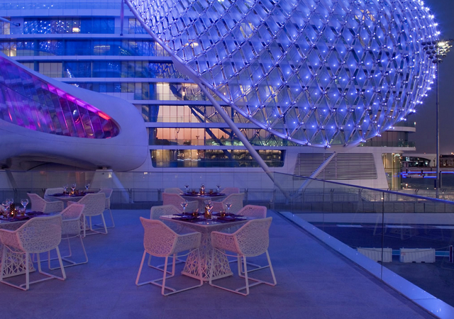 Yas Viceroy Abu Dhabi Hotel Review - Terrace at Night
