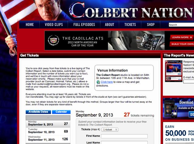 colbert report tickets