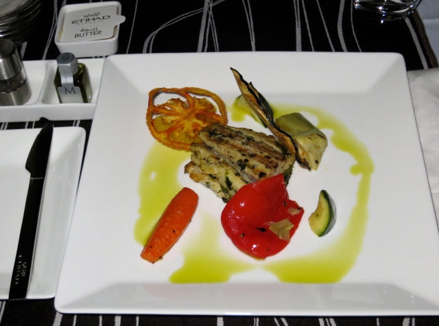 Etihad First Class Review: Grilled Fillet of Sea Bass