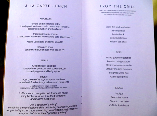 Etihad First Class Review - Lunch Menu