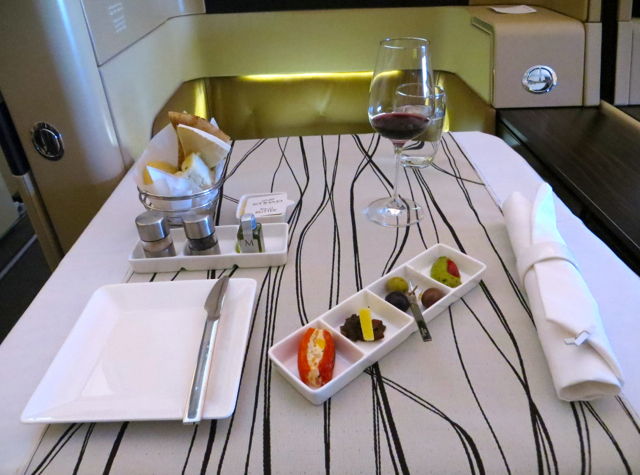 Etihad First Class Review - Table Set for Lunch