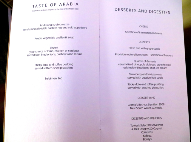 Etihad First Class Review - Taste of Arabia and Dessert Menu
