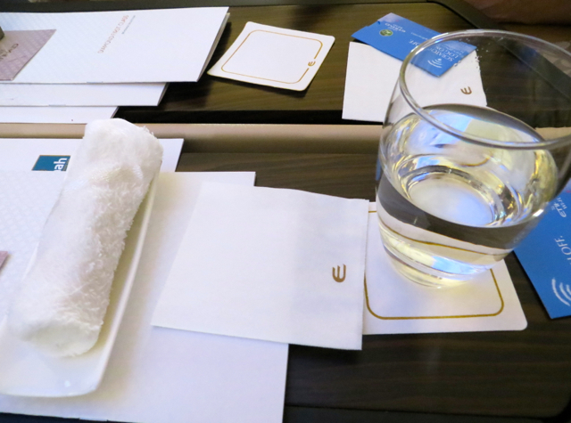 Etihad First Class Review - Hot Towel and Pre-Flight Drink