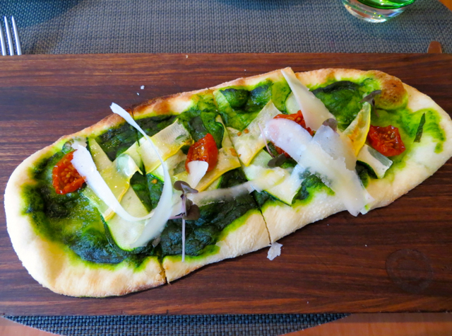 Boulud Sud NYC Restaurant Review - Stone-Baked Flatbread with Herb Pistou
