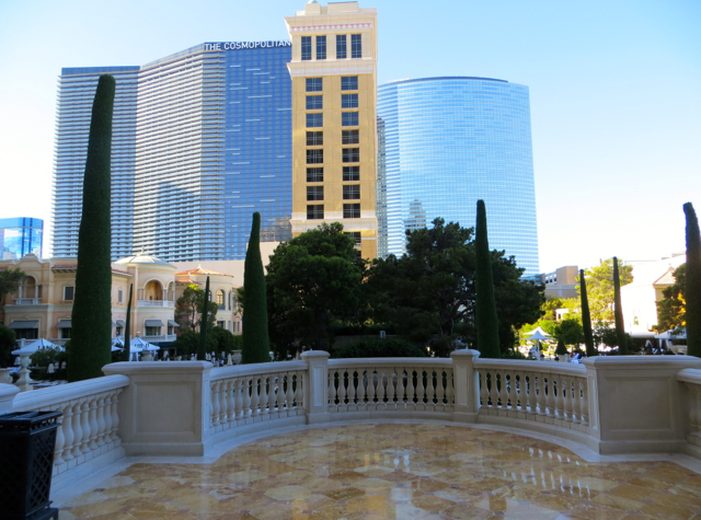 Bellagio Las Vegas Hotel Review - Entrance to Pool Area with View of Cosmopolitan