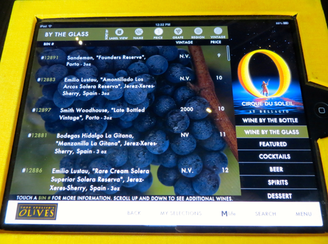 Todd English's Olives Las Vegas Restaurant Review - iPad wine list