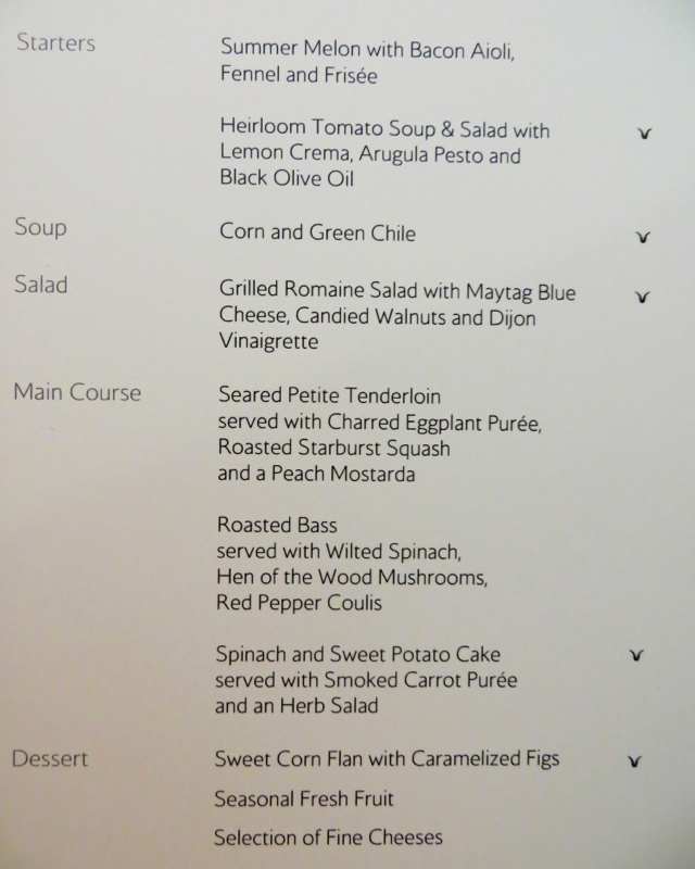British Airways Galleries Lounge Review, Newark - First Class Dinner Menu