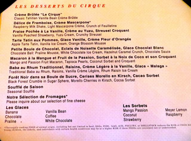 Le Cirque Las Vegas Dessert Menu