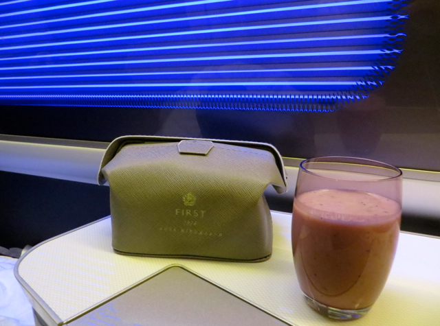 British Airways New First Class Review - Berry Smoothie for Breakfast