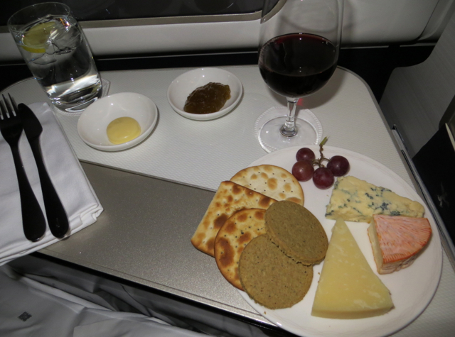 British Airways New First Class Review - Cheese Plate and Glass of Wine