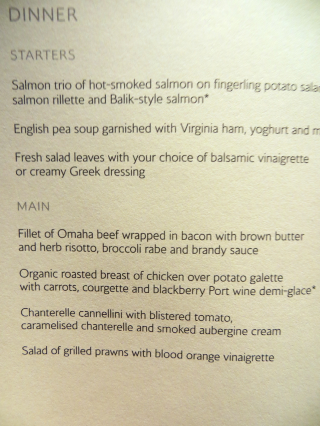 British Airways New First Class Review - Dinner Menu