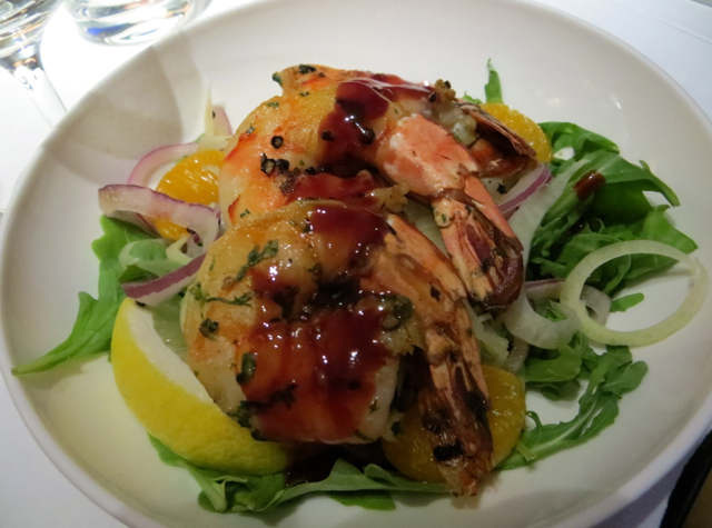 British Airways New First Class Review - Grilled Prawn Salad