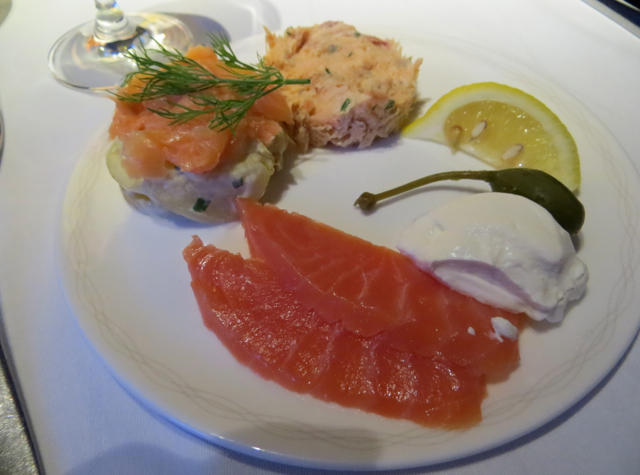 British Airways New First Class Review - Salmon Trio