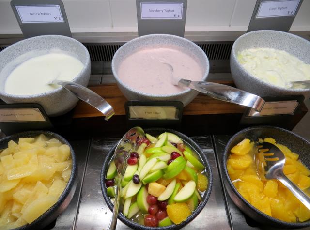 British Airways Galleries Arrivals Lounge Breakfast Buffet - Yogurts and Fruit Salad