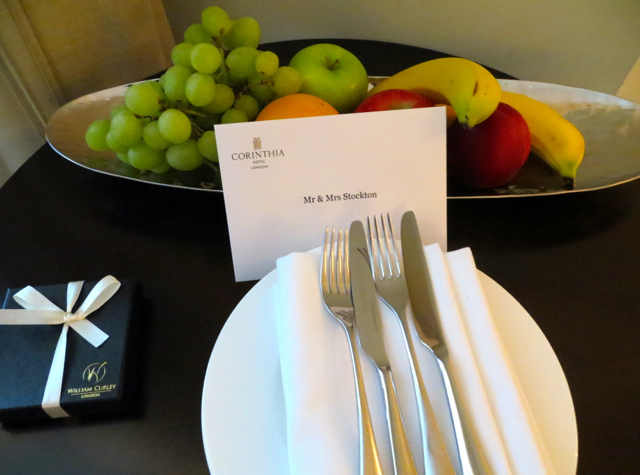 Corinthia Hotel London Review - Welcome Amenity - Fruits and Chocolates