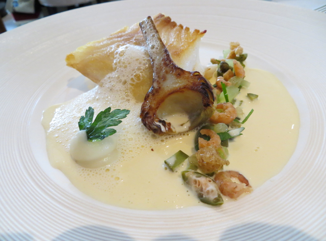 Petrus London Restaurant Review  Cod with Baby Artichoke and Shrimp