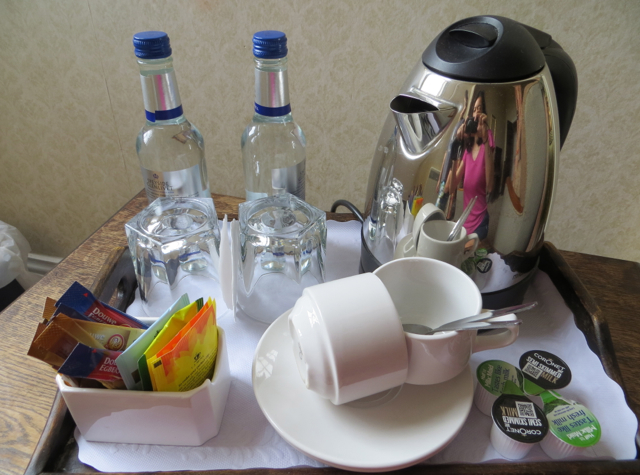 Dalhousie Castle Review Bonnyrigg Scotland - Bottled Water and Tea Maker