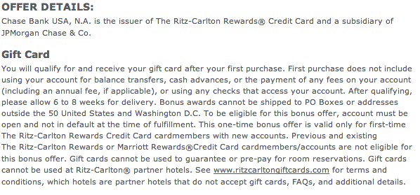 Ritz-Carlton Rewards Card $200 Gift Card Terms