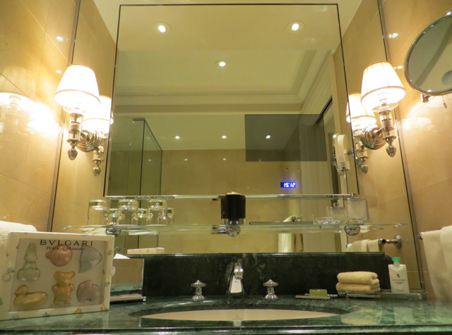 Four Seasons Paris Review - Bathroom with Flat Screen TV Embedded in Mirror