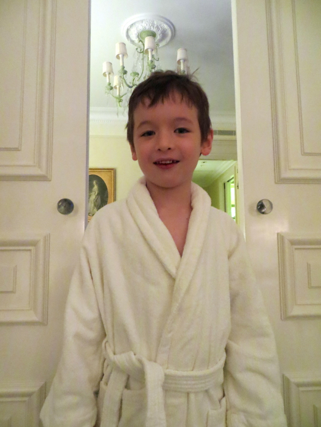 Four Seasons Paris Review - Munchkin in Child Size Bathrobe