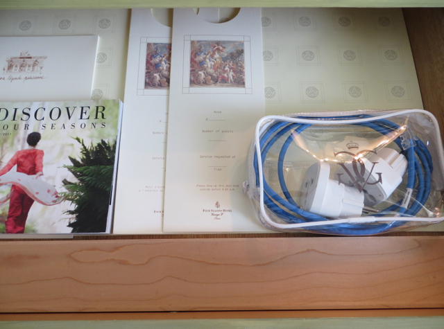 Four Seasons Paris Review - Power Adapters in Desk Drawer