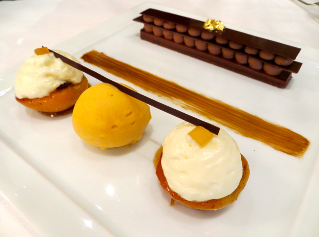 Le Cinq at Four Seasons Paris Restaurant Review - Apricots and Chocolate Napoleon Dessert