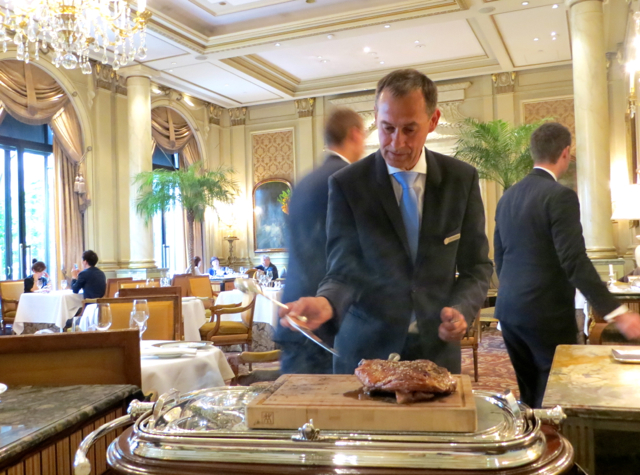 Le Cinq at Four Seasons Paris Restaurant Review-Carving Lamb Shoulder from Aveyron