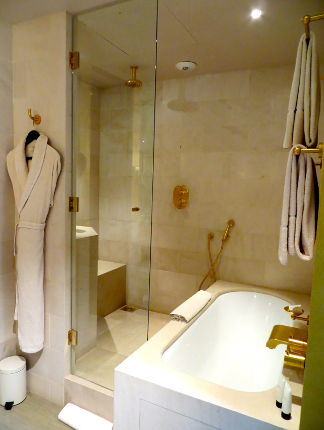 Park Hyatt Paris Vendome Review - Park Deluxe Room Bathroom Shower and Soaking Bath