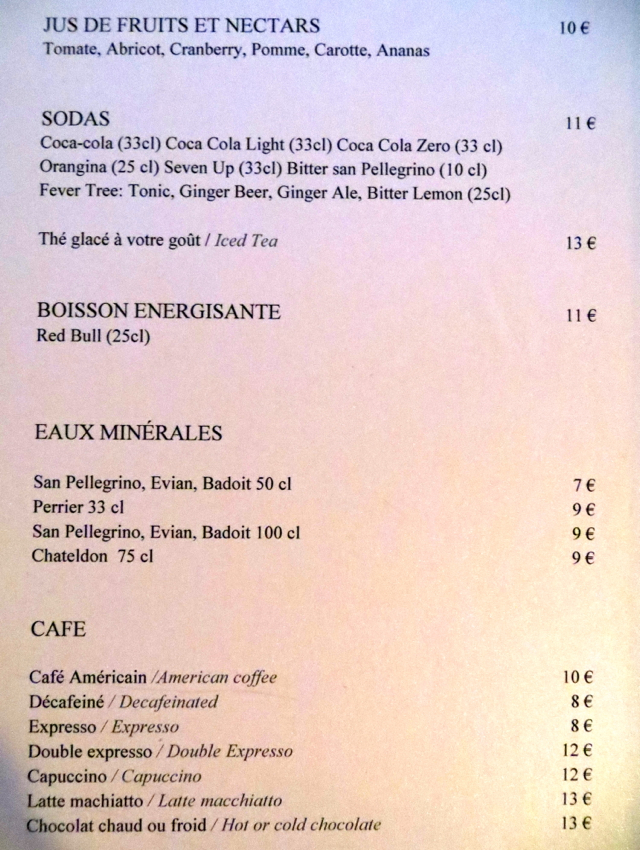 Prince de Galles Le Patio Drink Menu