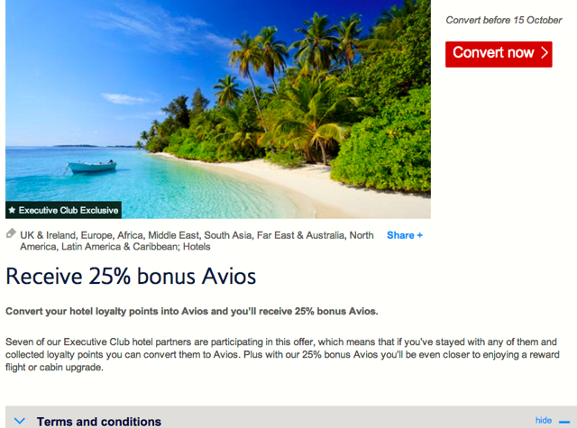 SPG: 56 Percent Transer Bonus to BA Avios: 20K SPG Points Become 31,250 Avios