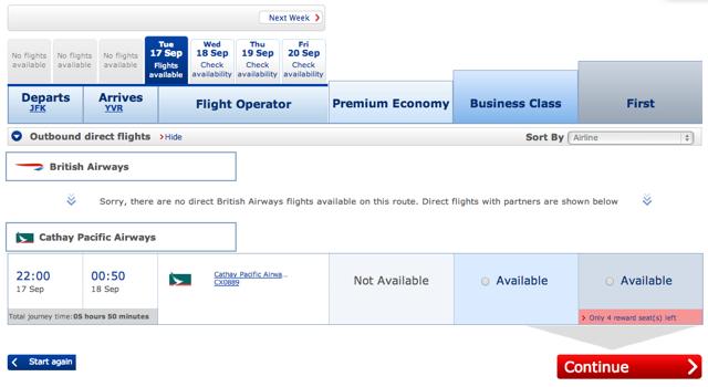 SPG: 56 Percent Transfer Bonus to BA Avios: Cathay Pacific First Class Award Space